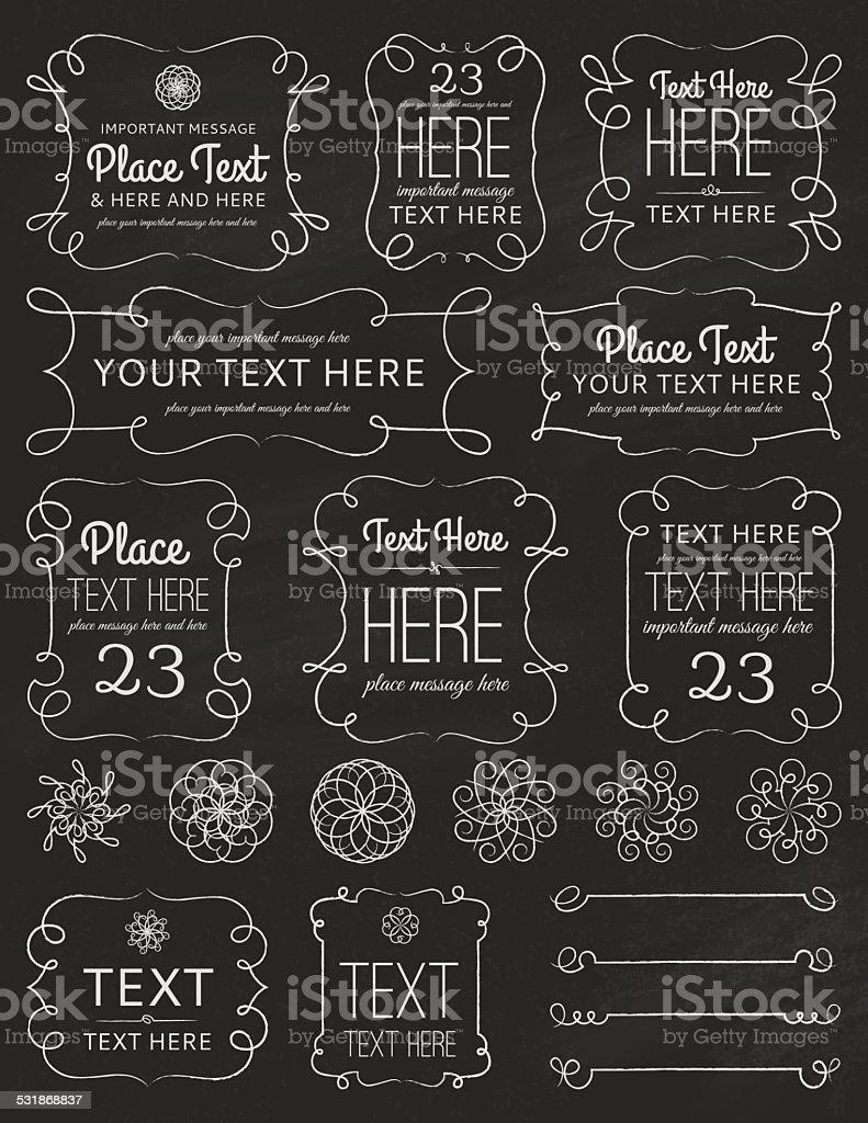 Chalkboard Swirl Frames & Elements vector art illustration