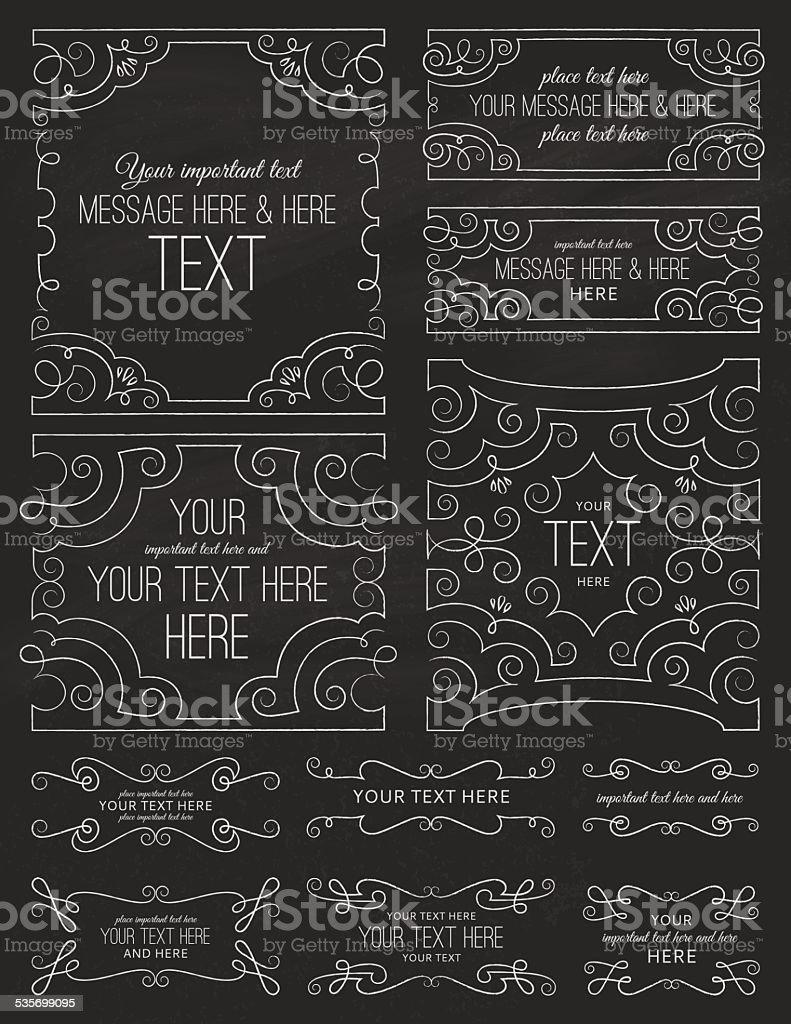 Chalkboard Swirl Frames Two vector art illustration