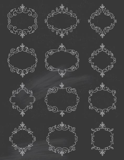 Chalkboard Swirly Leaf Frames vector art illustration