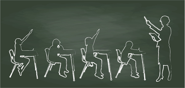 A chalk outline vector silhouette illustration of a teacher and her four elemenary school students in her classroom.