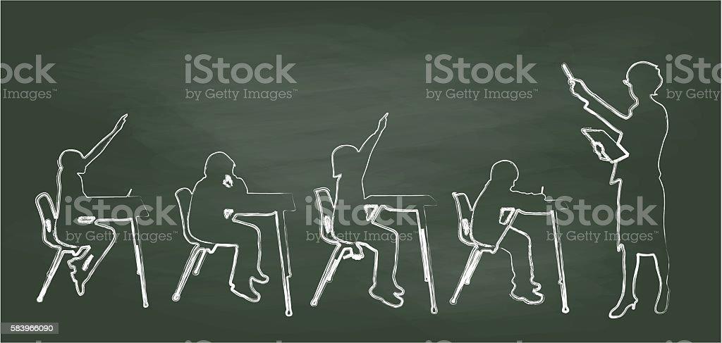Chalkboard Teacher And Small Classroom vector art illustration