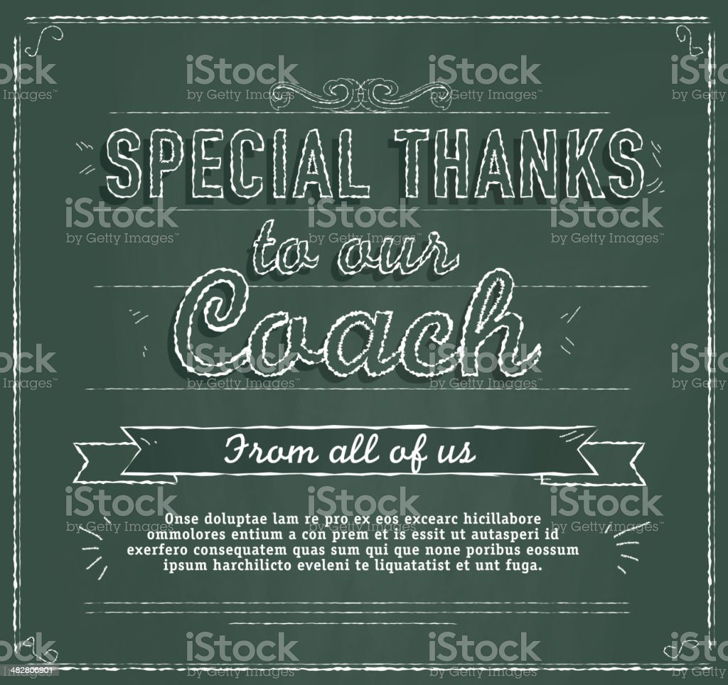 Chalkboard Themed Coach Thank You Message Royalty Free Chalkboard Themed  Coach Thank You Message Stock  Unt Blackboard