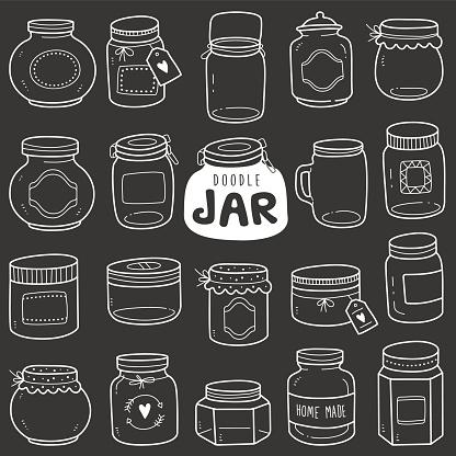 Chalkboard Vector Doodle Illustration: Jars