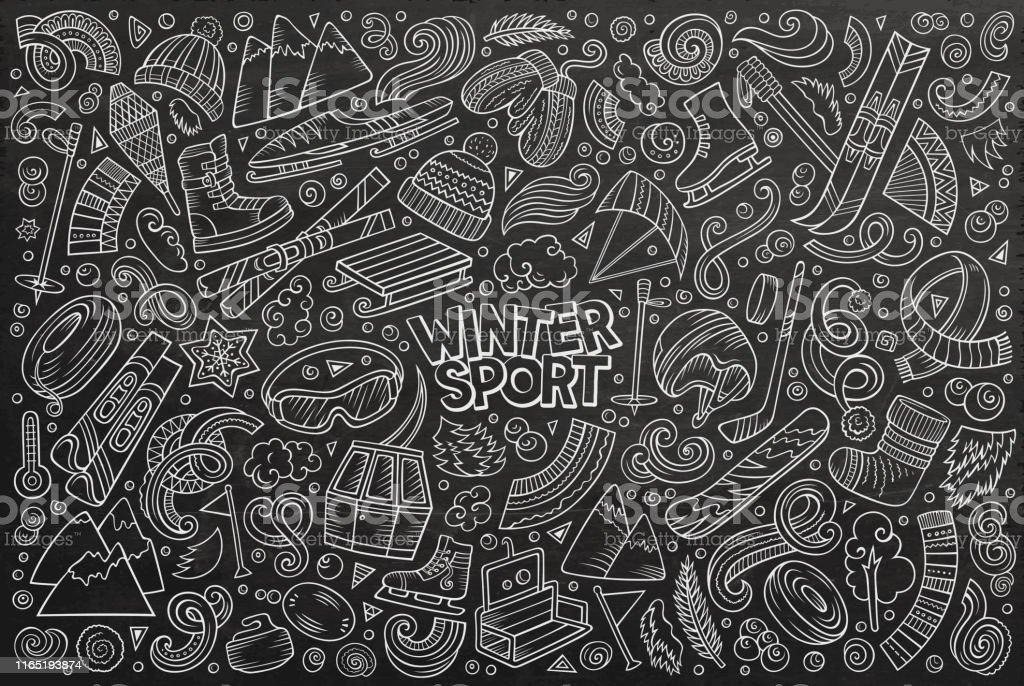 Chalkboard vector hand drawn doodle cartoon set of Winter sports...