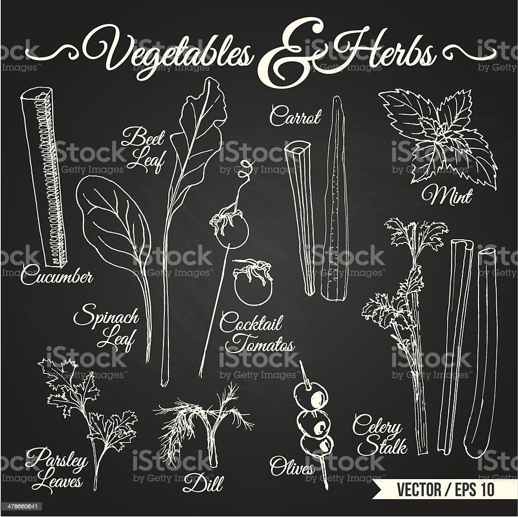 VEGETABLES & HERBS chalkboard vector art illustration