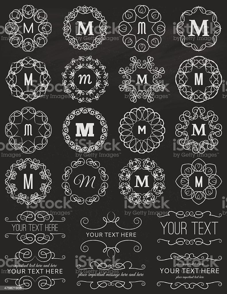 Chalkboard Vintage Circle Frames Design Elements Stock Vector Art ...