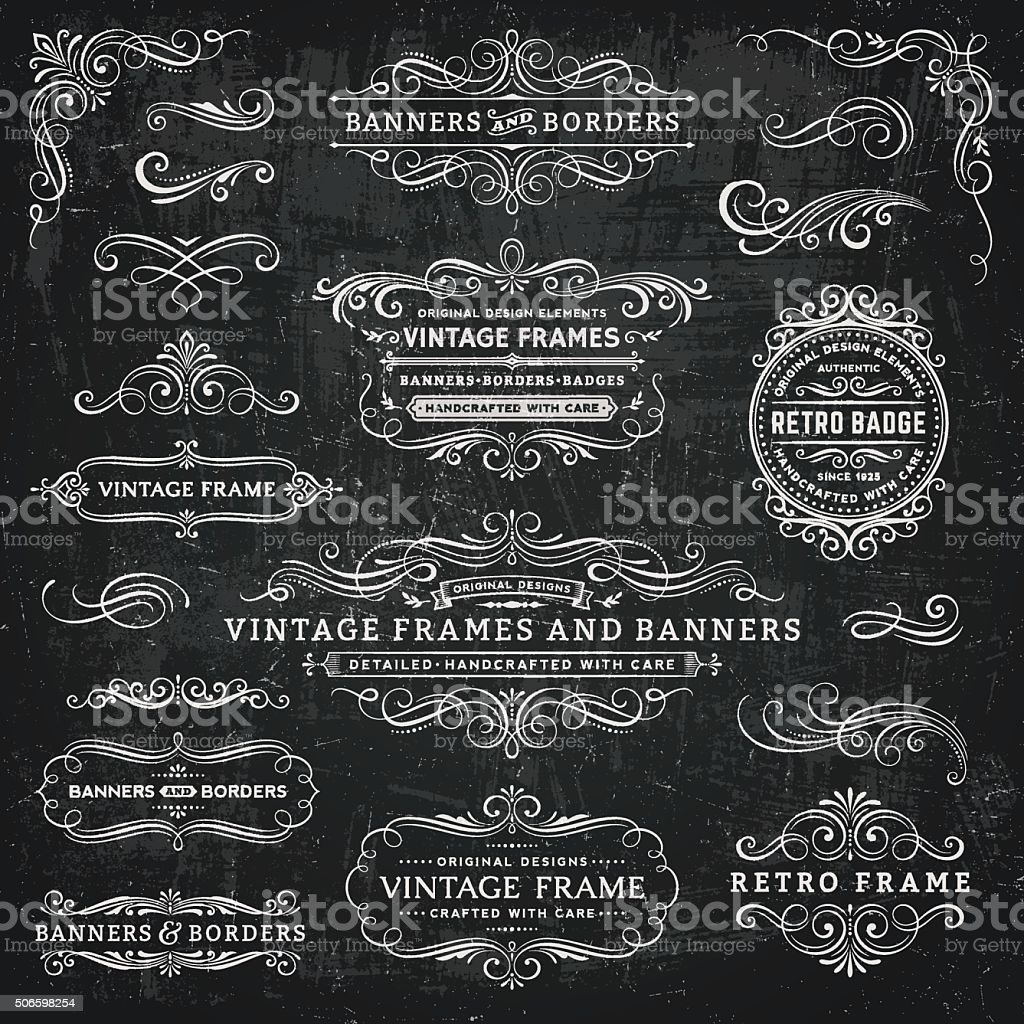 Chalkboard Vintage Frames, Banners and Badges Retro badges,frames and banners over chalkboard background.EPS 10 file.File is layered and global colors used.More works like this linked below. Badge stock vector