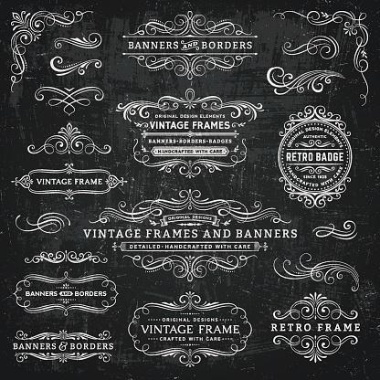 Chalkboard Vintage Frames, Banners and Badges