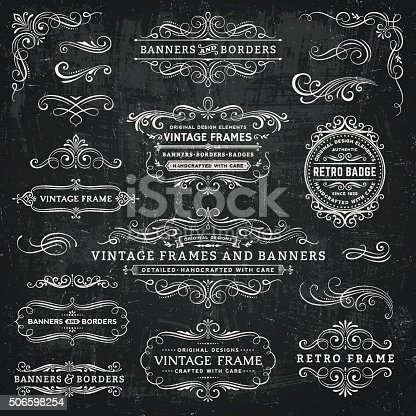 Retro badges,frames and banners over chalkboard background.EPS 10 file.File is layered and global colors used.More works like this linked below.