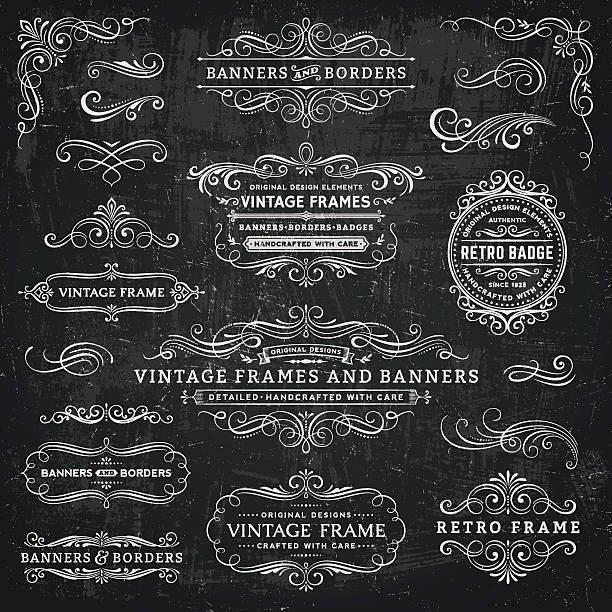 , która wygląda jak narysowana kredą vintage ramki, banery i znaczki - ozdobny stock illustrations