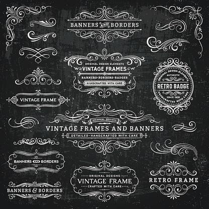 Chalkboard Vintage Frames Banners And Badges Stock Illustration - Download Image Now