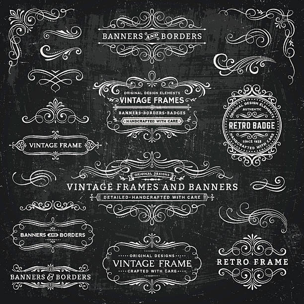 stockillustraties, clipart, cartoons en iconen met chalkboard vintage frames, banners and badges - tekstornament