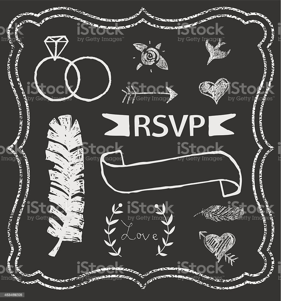 Chalkboard Wedding graphic set royalty-free stock vector art