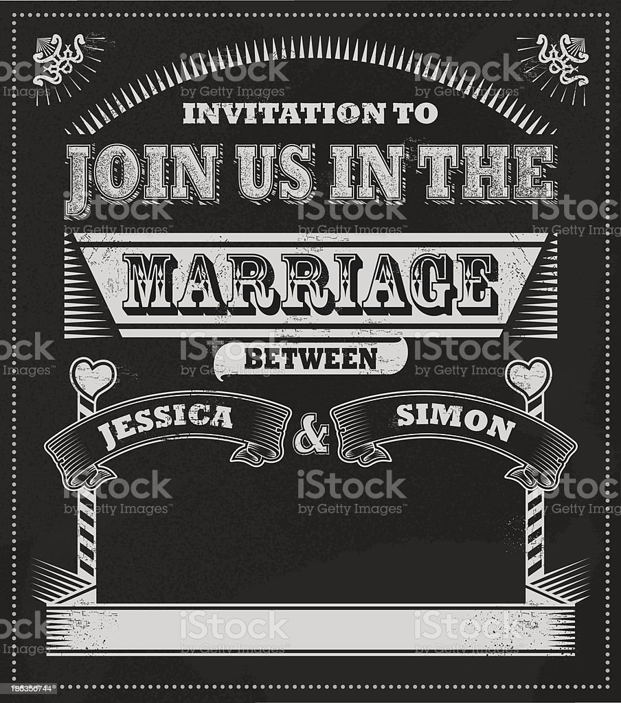 Chalkboard Wedding Invitation Stock Vector Art More Images Of
