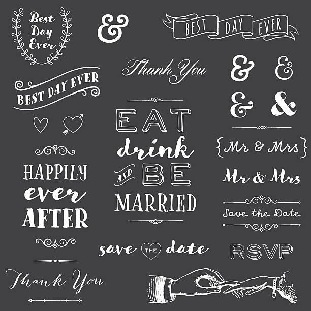 stockillustraties, clipart, cartoons en iconen met chalkboard wedding typography - borden en symbolen