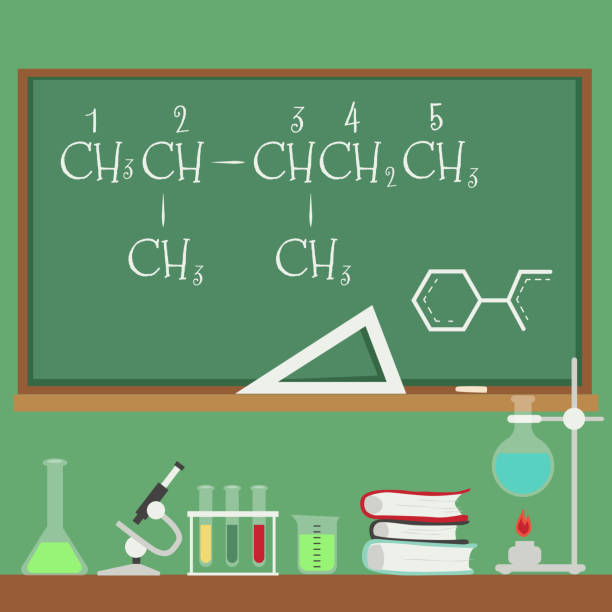 Chalkboard with chemistry formulas and science equipment flat cartoon style Chalkboard with chemistry formulas and science equipment flat cartoon style, vector illustration on green background. Blackboard with inscriptions and chemical glassware standing on desk drawing of a glass liquor flask stock illustrations
