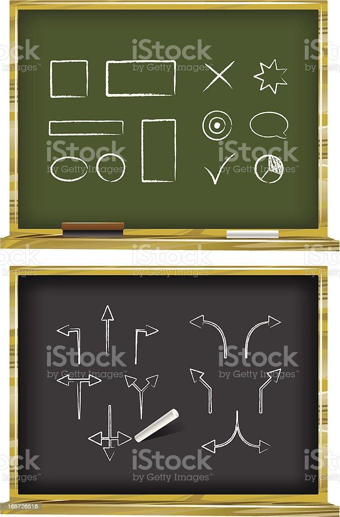 Chalkboards displaying various symbols royalty-free stock vector art