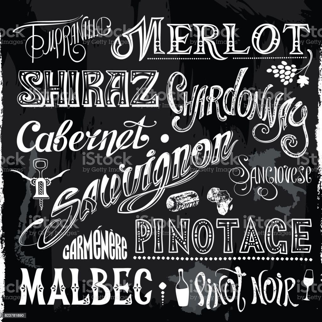 Dessiné à la craie des sortes de vin titres - Illustration vectorielle