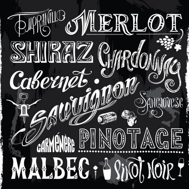 Chalk-drawn Sorts Wine Titles vector art illustration