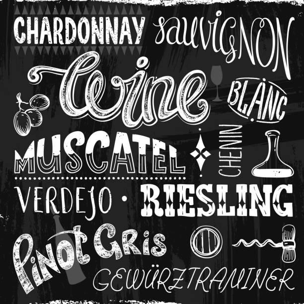 チョークで描かれた白ワインのタイトル - マスカット イラスト点のイラスト素材/クリップアート素材/マンガ素材/アイコン素材