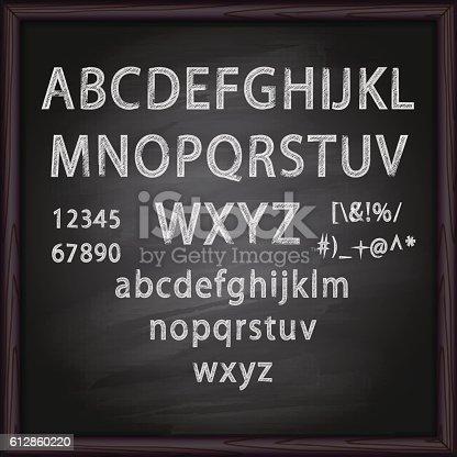 Alphabet and Lettering on blackboard