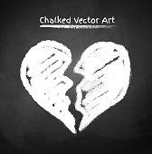 Chalked broken heart