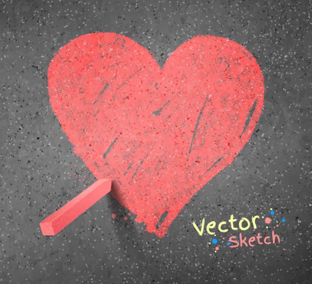 stockillustraties, clipart, cartoons en iconen met chalked drawing of heart. - stoep