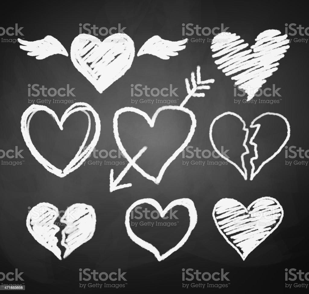 Chalked hearts. vector art illustration