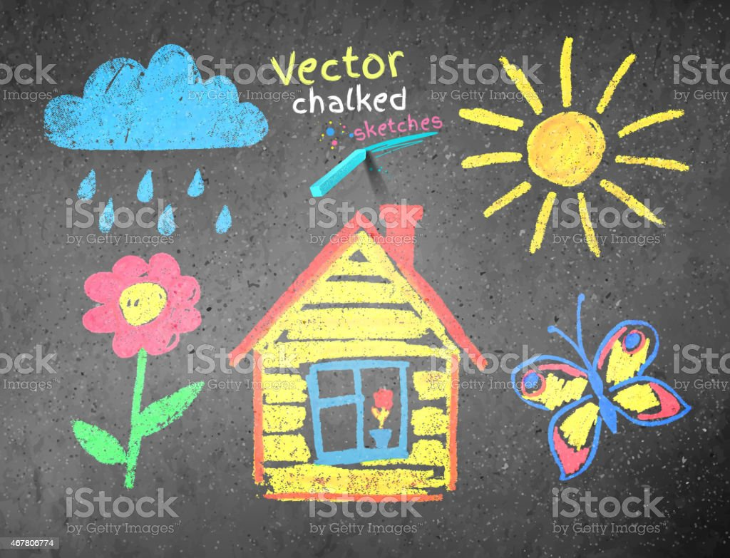 Chalked kids drawing vector art illustration