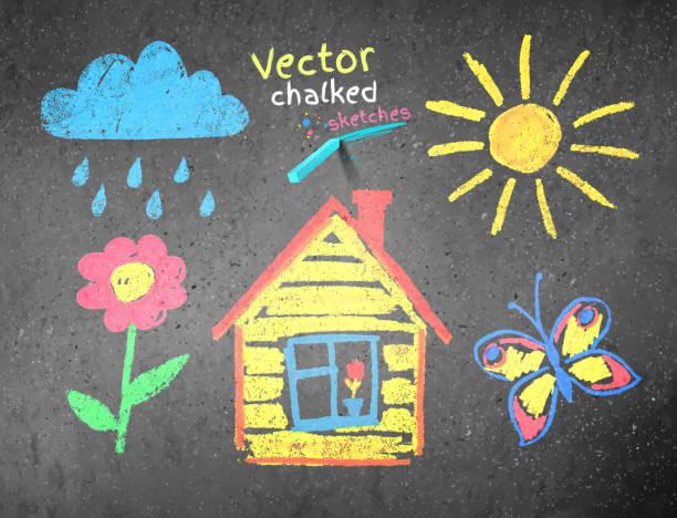 stockillustraties, clipart, cartoons en iconen met chalked kids drawing - stoep