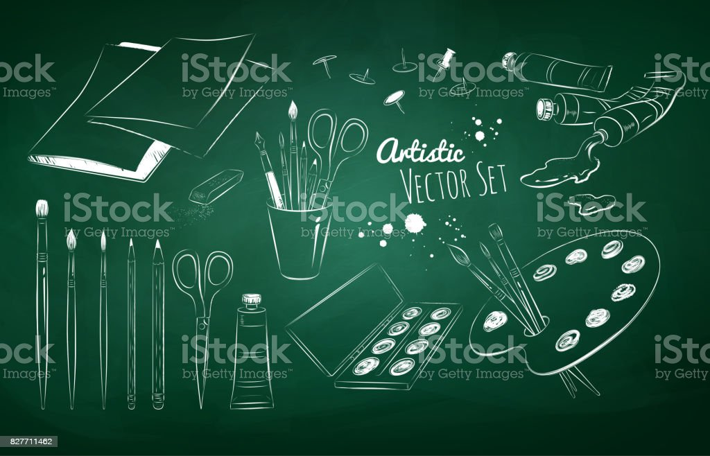 Chalked set of artists supplies vector art illustration