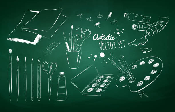 chalked set of artists supplies - art class stock illustrations, clip art, cartoons, & icons