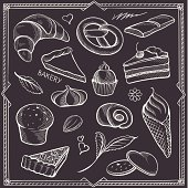 Freehand contours of sweets and vintage decor on black background.
