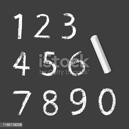 Chalky Numbers of one to zero, chalk texture on dark background, vector Eps 10 illustration
