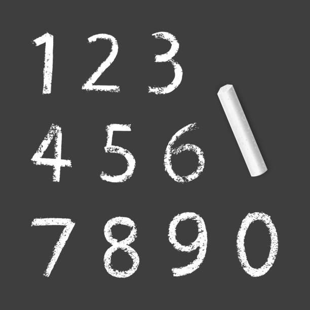 kreide zahlen eins bis null, kreidestruktur auf dunklem hintergrund, vektordarstellung - kreide weiss stock-grafiken, -clipart, -cartoons und -symbole