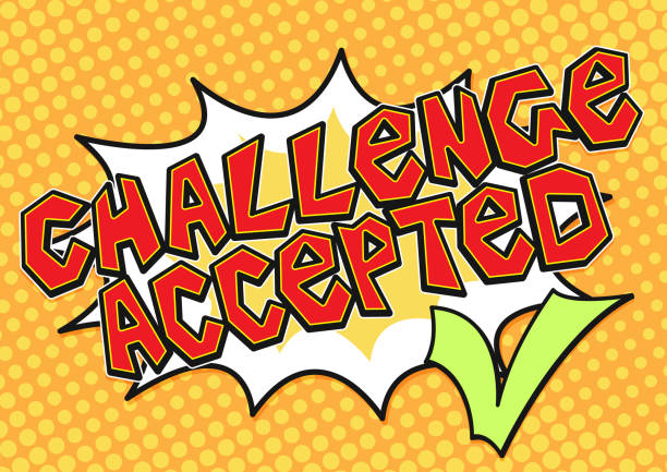 Challenge accepted word bubble with green check mark in pop art comics style, Challenge concept vector icon. Challenge accepted word bubble with green check mark in pop art comics style, Challenge concept vector icon. receiving stock illustrations