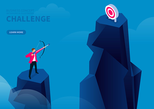 Challenge, businessman standing on the top of the mountain and shooting another target on the top of the mountain