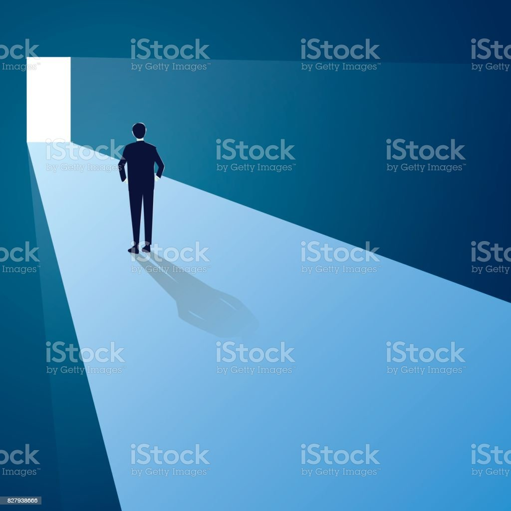 Challenge Concept. Businessman Standing in Front of Future Gate vector art illustration