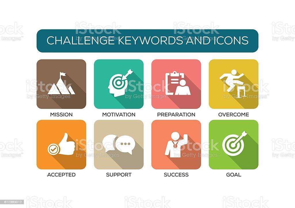 Challenge Flat Icon Set vector art illustration