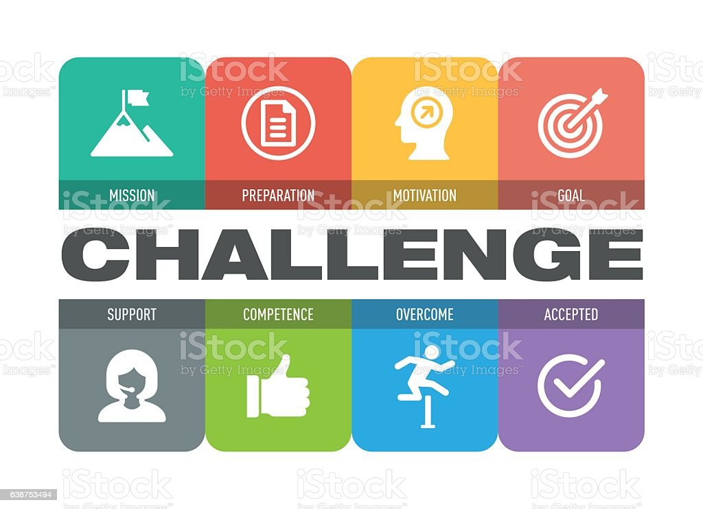 Challenge Icon Set vector art illustration