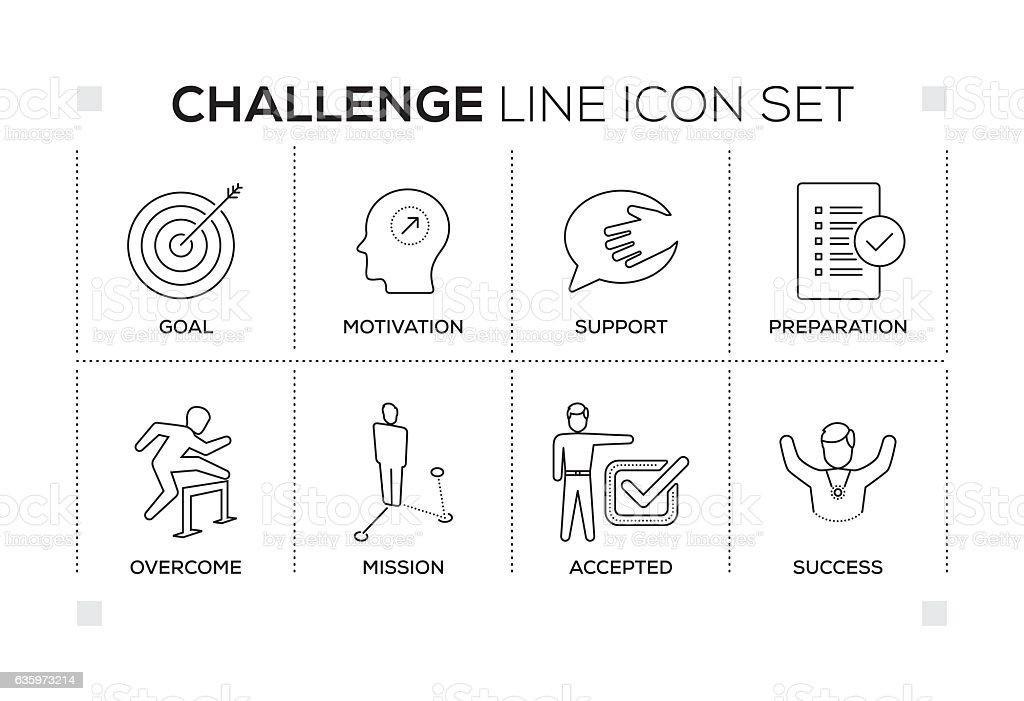 Challenge keywords with monochrome line icons vector art illustration