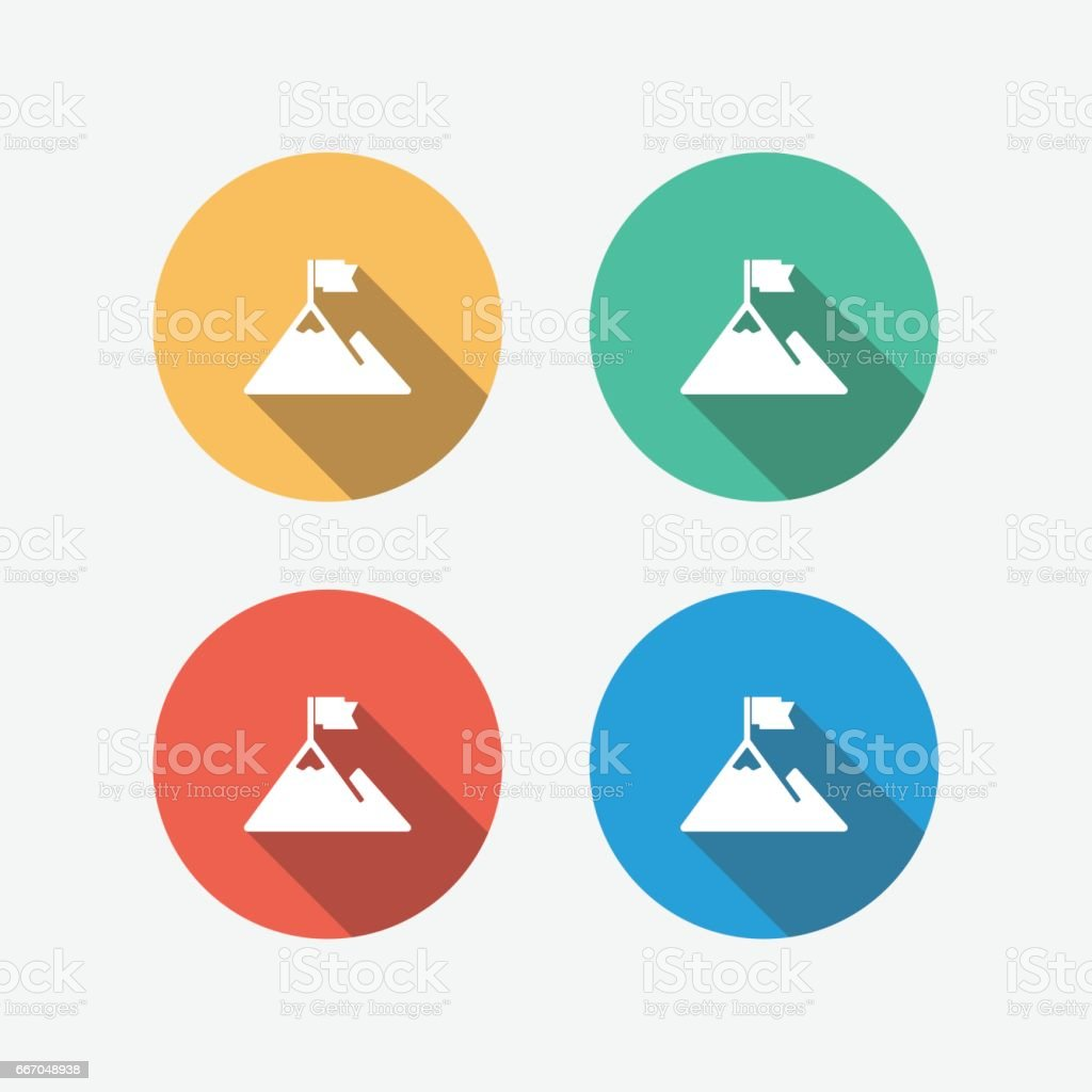 Challenge Multi Colored Flat Icon vector art illustration