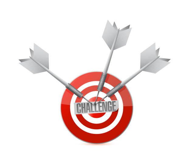 Challenge target and darts. illustration design Challenge target and darts. illustration design graphic isolated over white ziel stock illustrations