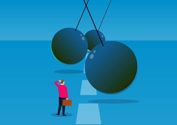 Challenges, adventures and opportunities, the swinging ball of iron chains hinders the way forward for businessmen Challenges, adventures and opportunities, the swinging ball of iron chains hinders the way forward for businessmen obstacle course stock illustrations
