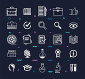 Challenges & Best Practices Line Style Vector Icon Set