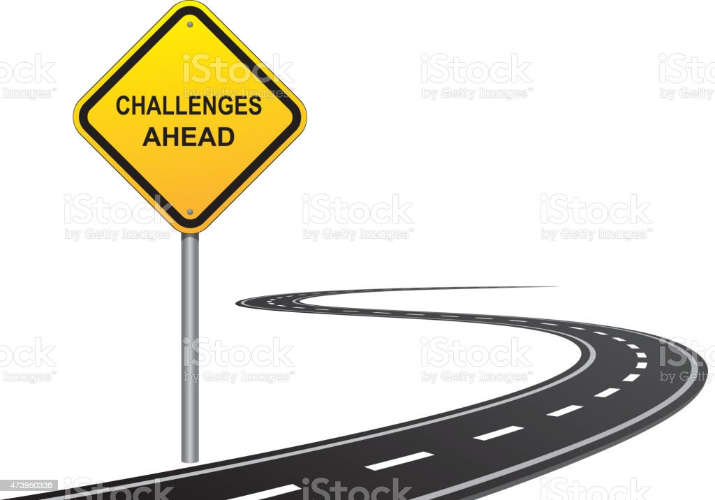 Challenges road sign vector art illustration