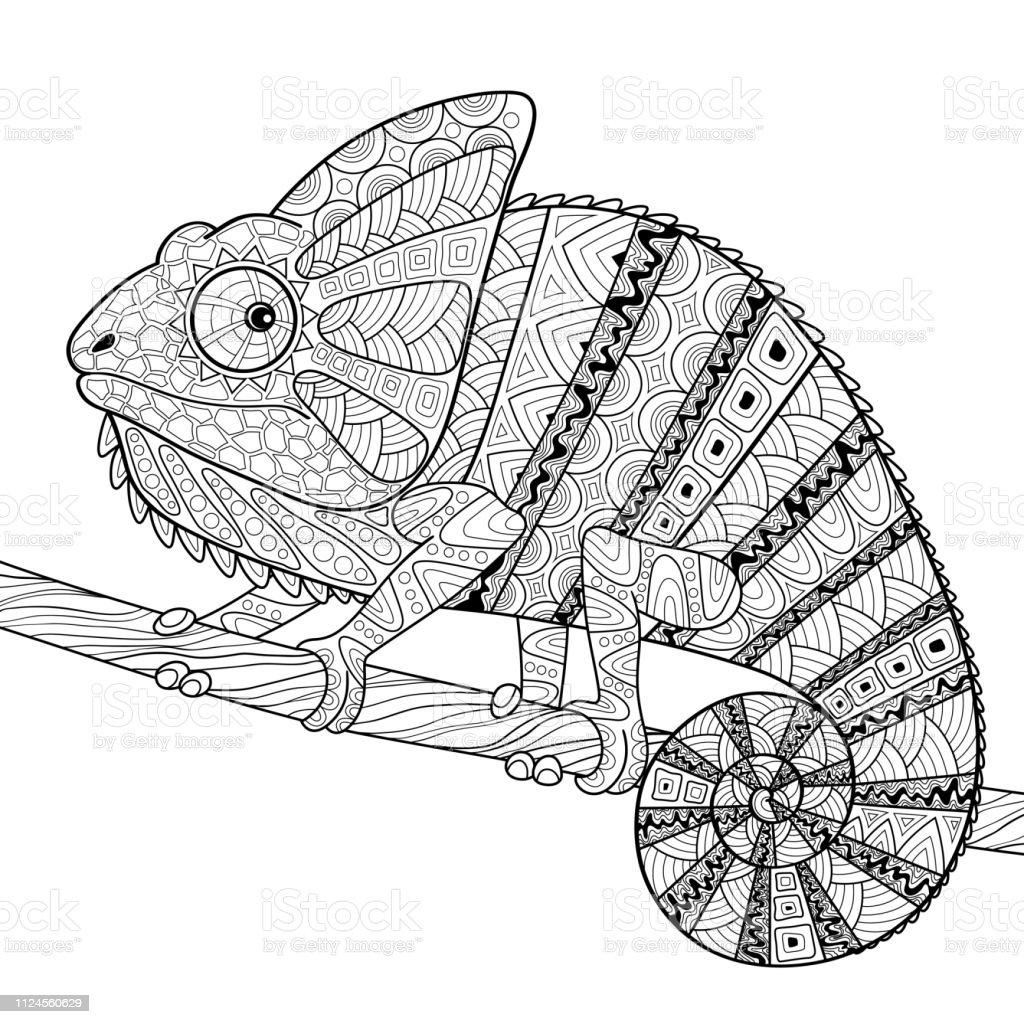Chamaleon Erwachsenen Antistress Malvorlagen Black And White Hand Gezeichnete Doodle Fur Malbuch Stock Vektor Art Und Mehr Bilder Von Abstrakt Istock