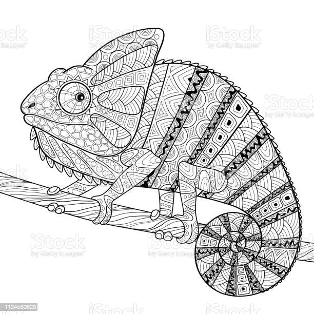 chameleon adult antistress coloring page black and white hand drawn vector id