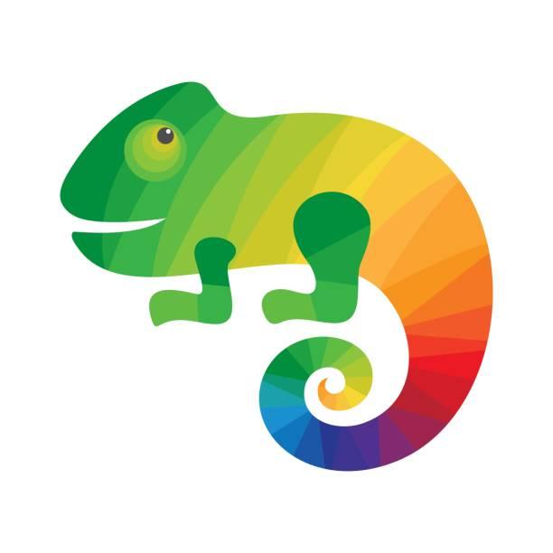 chameleon colorful logo. - chameleon stock illustrations