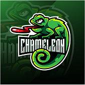 Illustration of Chameleon esport mascot logo design